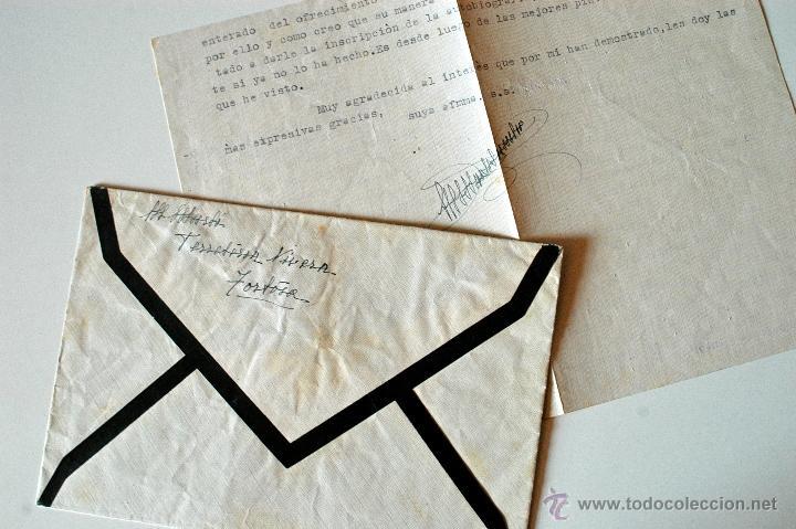 Sellos: CARTA A MAQUINA FIRMADA POR LA ESCULTORA MARIA MARTI+SOBRE TORTOSA-MALLORCA 1951 - Foto 3 - 39354787