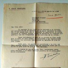 Sellos: CARTA A MAQUINA FIRMADA POR EL PINTOR DE SABADELL, FRANCISCO JULIA VENTURA+SOBRE 1949 . Lote 39363509