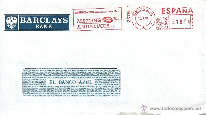 FRANQUEO MECANICO 26116 MODIFICADO SEVILLA, COLABORADORA, BARCLAYS (Sellos - Historia Postal - Sello Español - Sobres Circulados)