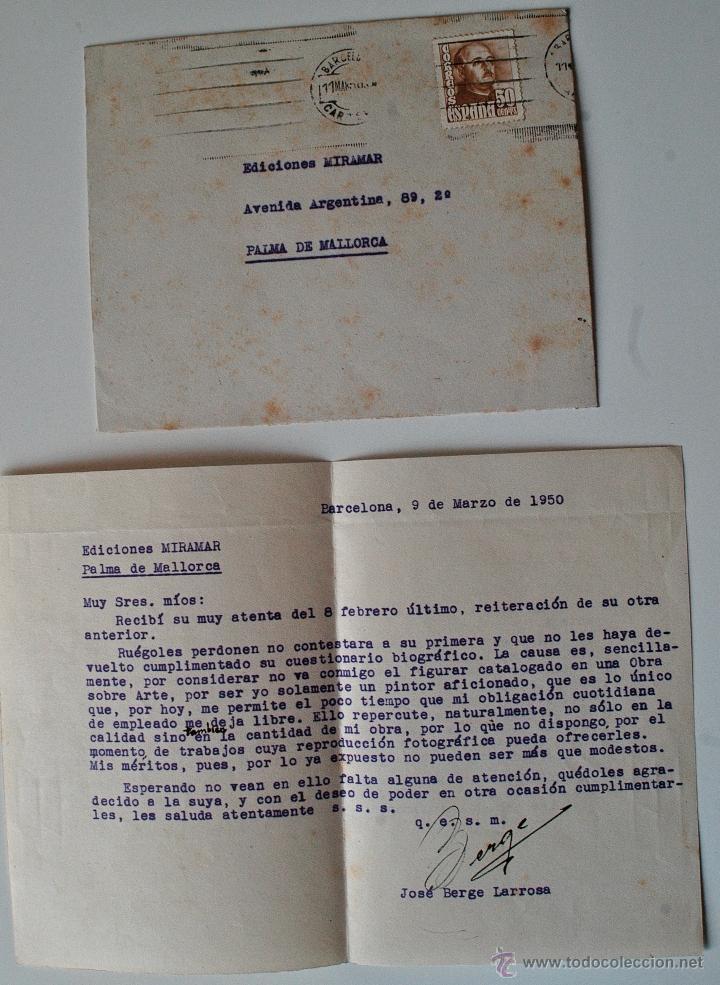 CARTA A MAQUINA FIRMADA POR EL PINTOR, JOSE BERGE LARROSA+SOBRE 1950! (Sellos - Historia Postal - Sello Español - Sobres Circulados)