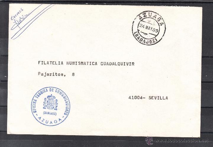 CORREOS AZUAGA (BADAJOZ) MARCA OFICINA TECNICA DE TELECOMUNICACIONES MATº FECHADOR (Sellos - Historia Postal - Sello Español - Sobres Circulados)