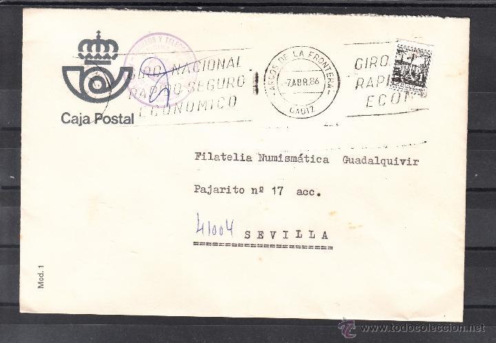 CORREOS ARCOS DE LA FRONTERA (CADIZ) MARCA CORREOS Y TELECOMUNICACIONES OFICINA TECNICA MATº RODILL+ (Sellos - Historia Postal - Sello Español - Sobres Circulados)
