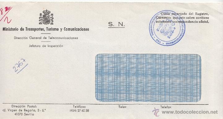 CORREOS SEVILLA MARCA DIRECCION PROVINCIAL DEL MINISTERIO DE TRANSPORTES TURISMO Y COMUNICACIONES, + (Sellos - Historia Postal - Sello Español - Sobres Circulados)