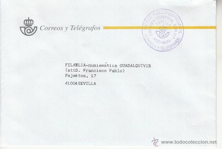 CORREOS SEVILLA MARCA ENTIDAD PUBLICA EMPRESARIAL CORREOS Y TELEGRAFOS, DIRECCION TERRITORIAL ZONA + (Sellos - Historia Postal - Sello Español - Sobres Circulados)