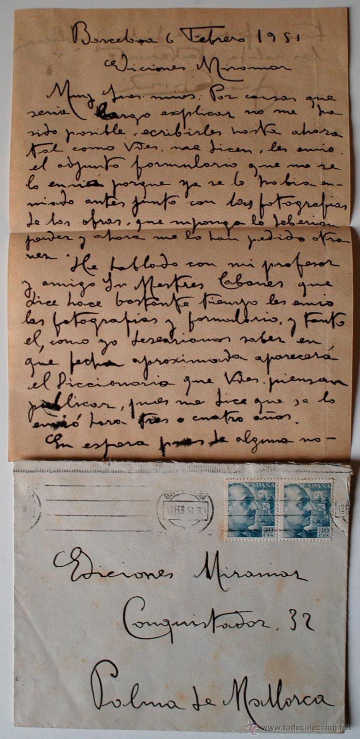 CARTA A MANO FIRMADA POR EL PINTOR JUAN CABIROL SEDROS+SOBRE CIRCULADO 1951 (Sellos - Historia Postal - Sello Español - Sobres Circulados)