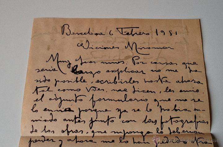 Sellos: CARTA A MANO FIRMADA POR EL PINTOR JUAN CABIROL SEDROS+SOBRE CIRCULADO 1951 - Foto 2 - 39711755