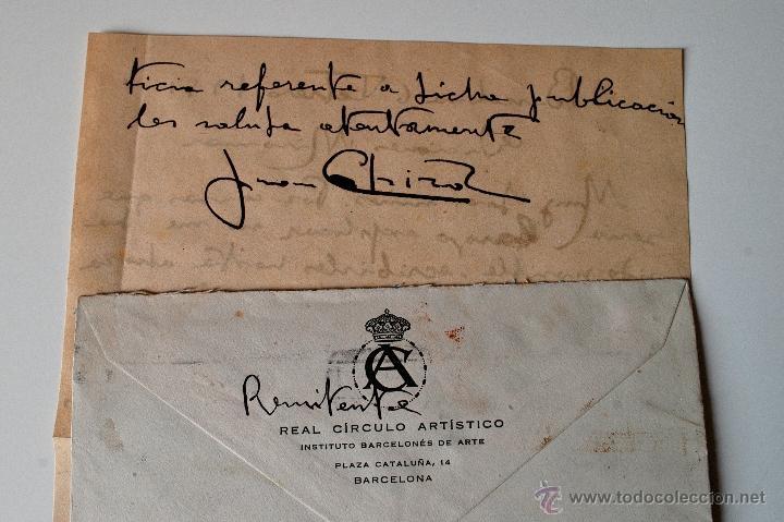 Sellos: CARTA A MANO FIRMADA POR EL PINTOR JUAN CABIROL SEDROS+SOBRE CIRCULADO 1951 - Foto 3 - 39711755