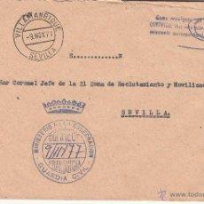Sellos: ,,FRANQUICIA MINISTERIO DE LA GOBERNACION, GUARDIA CIVIL, VILLAMANRIQUE (SEVILLA) MATº FECHADOR. Lote 39846526
