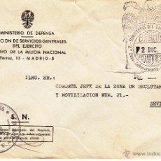 Sellos: ,,FRANQUICIA MINISTERIO DEL EJERCITO, 2ª SECC. SUBSECRETARIA MILICIA Y NACIONAL, MARCA MINISTERIO D+. Lote 218139690
