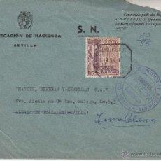 Sellos: ,,FRANQUICIA DELEGACION DE HACIENDA DE LA PROVINCIA, SEVILLA, MATº CERTIFICADO, FRANQUEO SELLOS, . Lote 39874050
