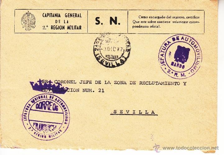 ,,FRANQUICIA JEFATURA REGIONAL DE AUTOMOVILISMO, 2ª REGION MILITAR, MATº FECHADOR 2ª REGION MILITAR+ (Sellos - Historia Postal - Sello Español - Sobres Circulados)