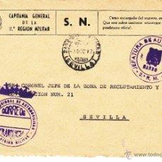 Sellos: ,,FRANQUICIA JEFATURA REGIONAL DE AUTOMOVILISMO, 2ª REGION MILITAR, MATº FECHADOR 2ª REGION MILITAR+. Lote 39943839