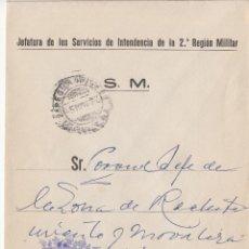 Sellos: ,,FRANQUICIA JEFATURA DE INTENDENCIA DE LA 2ª REGION MILITAR, SEVILLA, MATº FECHADOR, . Lote 39943876