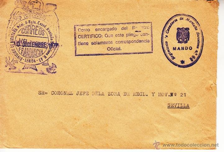 ,,FRANQUICIA DIVISION DE MONTAÑA NUM. 4 - RGTO. CAZAD. MONTAÑA BARCELONA N. 63, LERIDA, MARCA REGIM+ (Sellos - Historia Postal - Sello Español - Sobres Circulados)