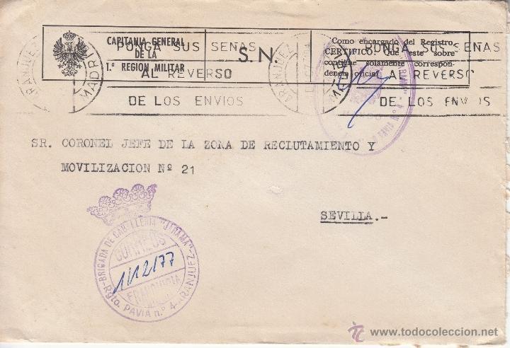 ,,FRANQUICIA BRIGADA DE CABALLERIA -JARAMA- RGTO. PAVIA Nº 4 ARANJUEZ (MADRID), MATº RODILLO, MARCA+ (Sellos - Historia Postal - Sello Español - Sobres Circulados)