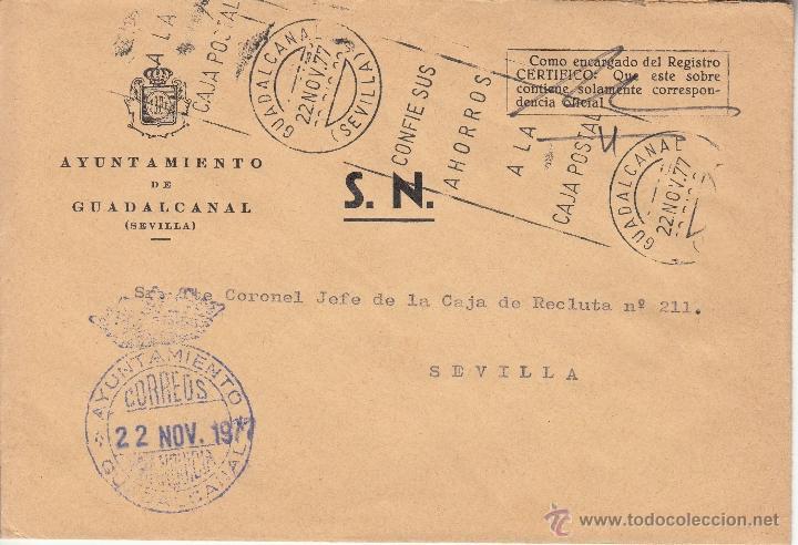 ,,FRANQUICIA AYUNTAMIENTO GUADALCANAL (SEVILLA), MATº RODILLO, (Sellos - Historia Postal - Sello Español - Sobres Circulados)