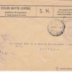 Sellos: ,,FRANQUICIA ACADEMIA DE INGENIEROS 3ª SECCION, BURGOS, MATº FECHADOR, 6ª REGION DEL EJERCITO, MARC+. Lote 40096801