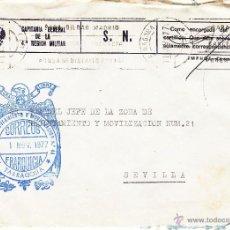 Sellos: ,,FRANQUICIA ZONA RECLUTAMIENTO Y MOVILIZACION Nº 44 TARRAGONA, MATº RODILLO, AL DORSO MARCA ZONA +. Lote 39883275