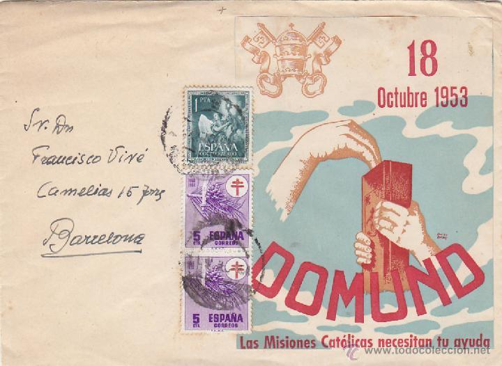 RELIGION DOMUND 1953 RARA CARTA ILUSTRADA CIRCULADA BARCELONA INTERIOR. (Sellos - Historia Postal - Sello Español - Sobres Circulados)