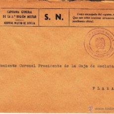 Sellos: ,,MARCA 2ª REGION MILITAR - HOSPITAL MILITAR, SEVILLA. Lote 40136060