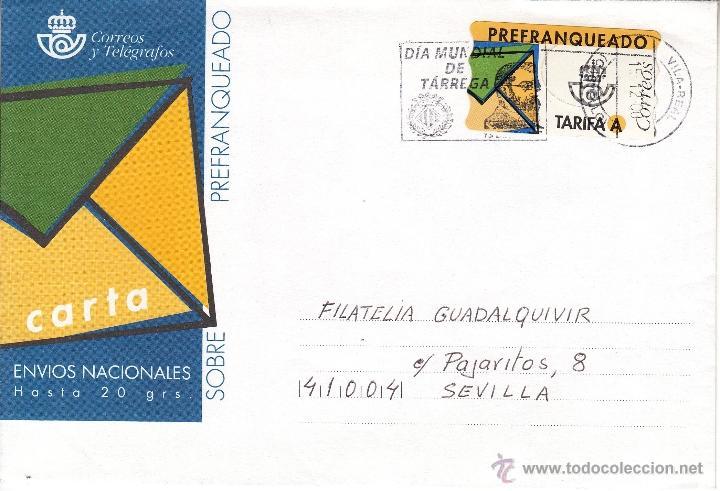 ETIQUETA ATMS PREFRANQUEADO 1, MATº RODILLO VILA-REAL (CASTELLON), DIA MUNDIAL DE TARREGA (Sellos - Historia Postal - Sello Español - Sobres Circulados)