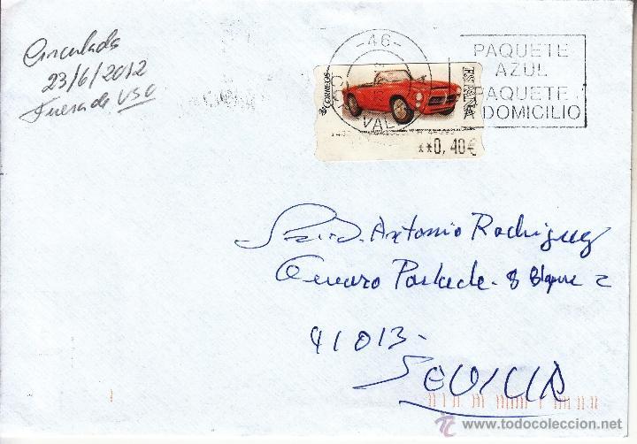 ETIQUETA ATMS Nº 1438 LORIGUILLA 46393 EURO C.2.103, MATº RODILLO USADA 26/06/2012 FUERA DE PLAZO (Sellos - Historia Postal - Sello Español - Sobres Circulados)