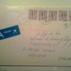 Sellos: SOBRE CIRCULADO AVIÓN - GANTE-ERMUA (VIZCAYA) - LEÓN - LEO BELGICUS Y ETIQUETA DE FRANQUEO. Lote 40383590