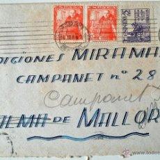 Sellos: BONITO SOBRE CIRCULADO 1949, 2 SELLOS DE FRANCO. CAMPANET. . Lote 40459780