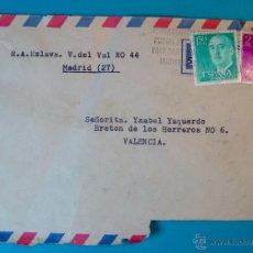 Sellos: SOBRE AEREO MATASELLOS DE CORRECCION POR NO TENER EL CODIGO POSTAL, MUY RARO. Lote 40574649