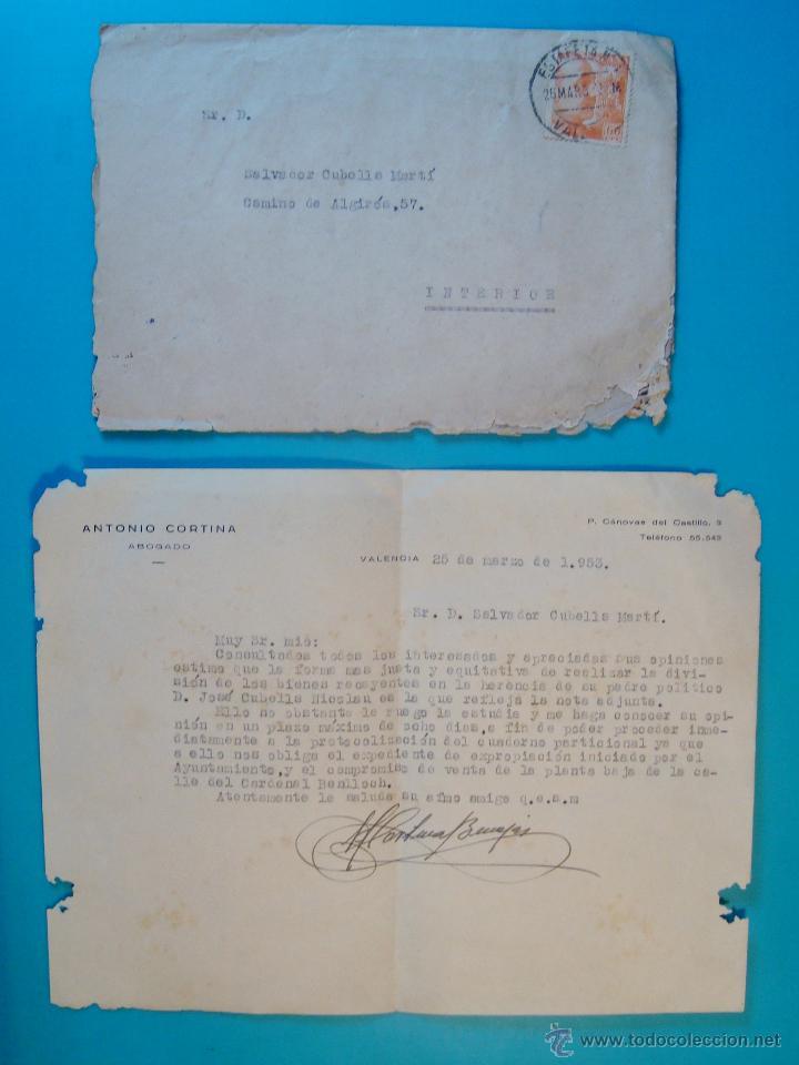 SOBRE CON CARTA SELLO FRANCO 60 CENT MATASELLOS ESTAFETA VALENCIA AÑO 1953 (Sellos - Historia Postal - Sello Español - Sobres Circulados)