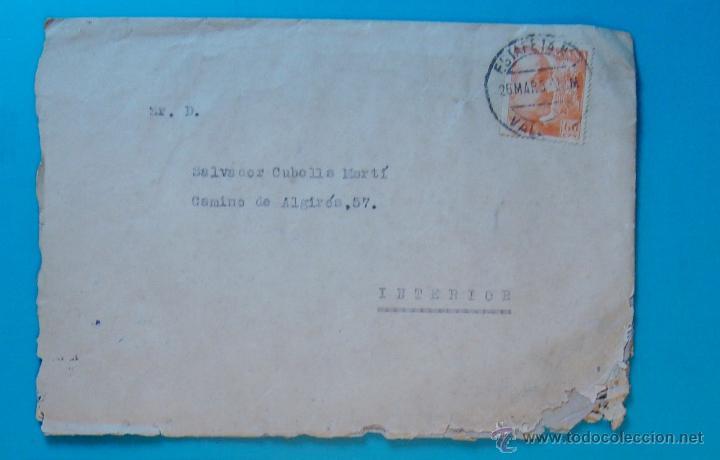 Sellos: SOBRE CON CARTA SELLO FRANCO 60 CENT MATASELLOS ESTAFETA VALENCIA AÑO 1953 - Foto 2 - 40575896
