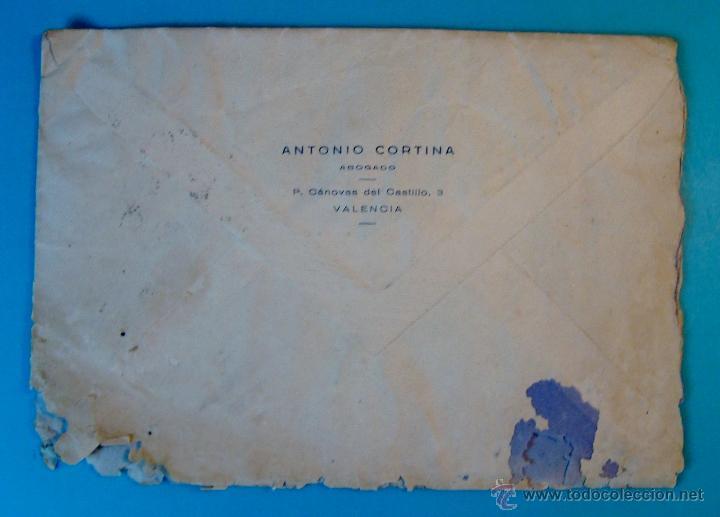 Sellos: SOBRE CON CARTA SELLO FRANCO 60 CENT MATASELLOS ESTAFETA VALENCIA AÑO 1953 - Foto 3 - 40575896