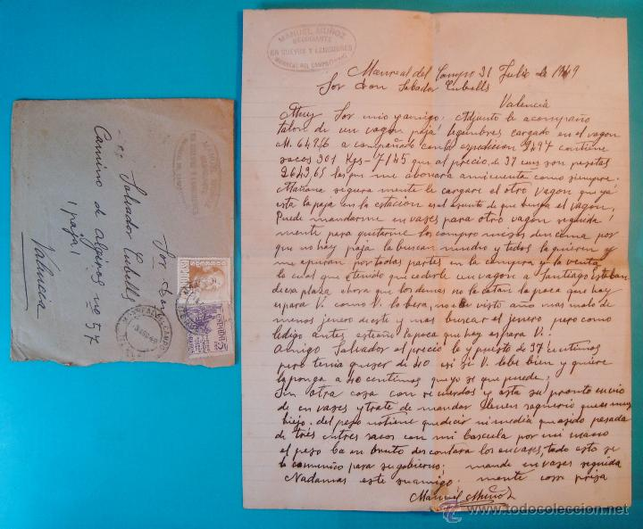 SOBRE CON CARTA SELLOS FRANCO 50 CENT EL CID 5 CENT MATASELLOS MONREAL DEL CAMPO TERUEL AÑO 1949 (Sellos - Historia Postal - Sello Español - Sobres Circulados)