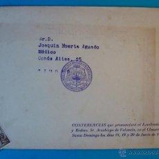 Sellos: SOBRE DE LAS CONFERENCIAS DEL ARZOBISPO DE VALENCIA CON CUÑO Y SELLO DE EL CID 5 CENT AÑO 1953. Lote 40576093