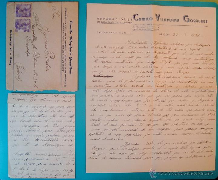 SOBRE CON CARTA DE REPARACIONES CAMILO VILLAPLANA GONZALBES SELLO FRANCO 20 CENT MATASELLO DE ALCOY (Sellos - Historia Postal - Sello Español - Sobres Circulados)
