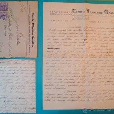 Sellos: SOBRE CON CARTA DE REPARACIONES CAMILO VILLAPLANA GONZALBES SELLO FRANCO 20 CENT MATASELLO DE ALCOY. Lote 40576147