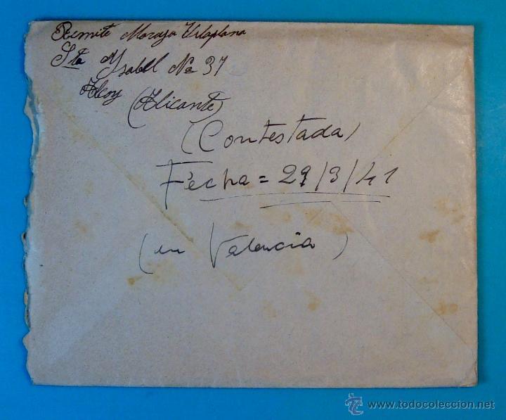 Sellos: SOBRE CON CARTA DE REPARACIONES CAMILO VILLAPLANA GONZALBES SELLO FRANCO 20 CENT MATASELLO DE ALCOY - Foto 3 - 40576147