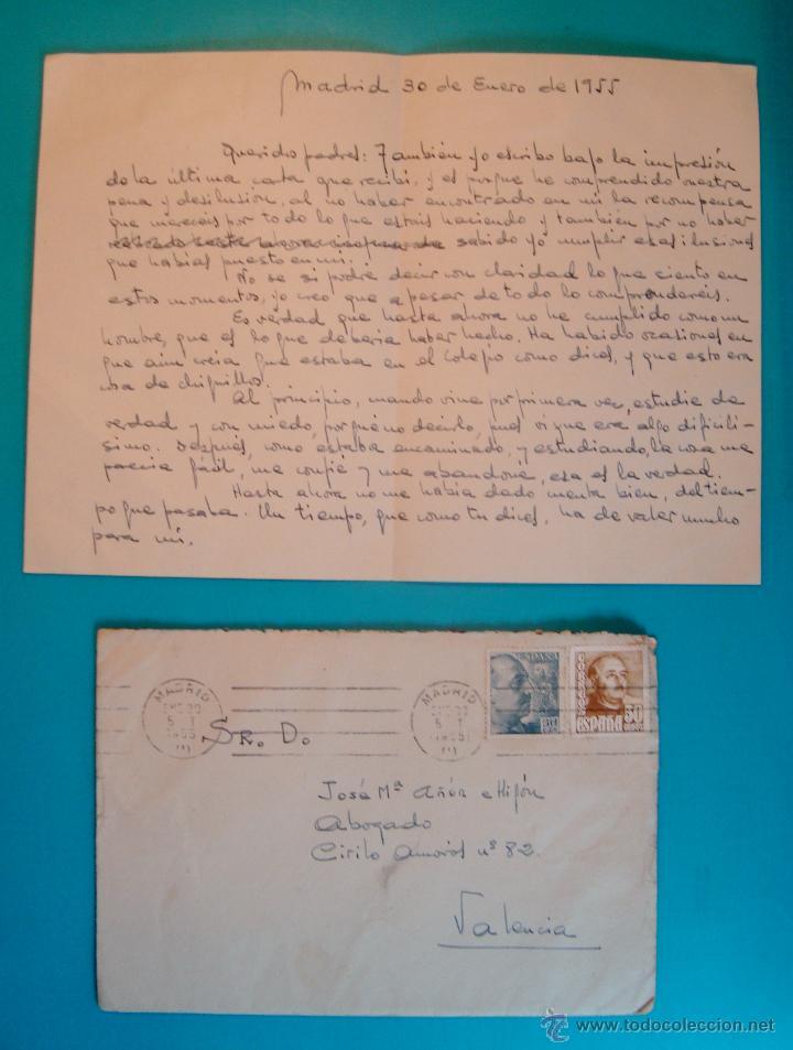 SOBRE CON CARTA SELLOS FRANCO 50 Y 30 CENTS MATASELLOS FRANQUEO MECANICO MADRID AÑO 1955 (Sellos - Historia Postal - Sello Español - Sobres Circulados)