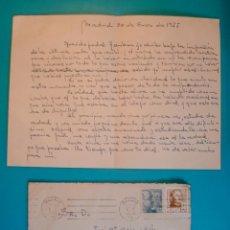 Sellos: SOBRE CON CARTA SELLOS FRANCO 50 Y 30 CENTS MATASELLOS FRANQUEO MECANICO MADRID AÑO 1955. Lote 40576197