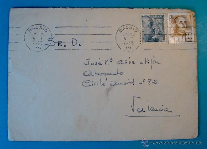 Sellos: SOBRE CON CARTA SELLOS FRANCO 50 Y 30 CENTS MATASELLOS FRANQUEO MECANICO MADRID AÑO 1955 - Foto 2 - 40576197