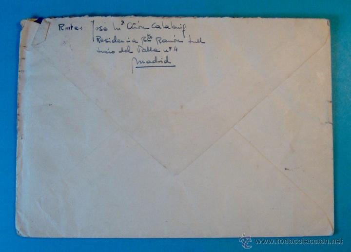 Sellos: SOBRE CON CARTA SELLOS FRANCO 50 Y 30 CENTS MATASELLOS FRANQUEO MECANICO MADRID AÑO 1955 - Foto 3 - 40576197