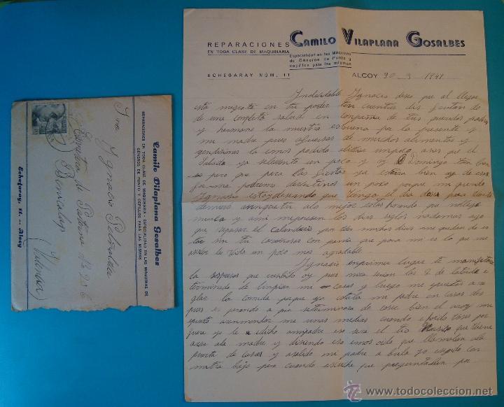 SOBRE CON CARTA DE REPARACIONES CAMILO VILLAPLANA GONZALBES SELLO FRANCO 40 CENT MATASELLO DE ALCOY (Sellos - Historia Postal - Sello Español - Sobres Circulados)