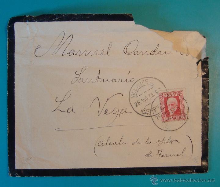 SOBRE CON SELLO PERSONAJES 30CENTS MATASELLO DE VILLAREAL AÑO 1933 (Sellos - Historia Postal - Sello Español - Sobres Circulados)