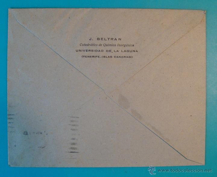 Sellos: SOBRE CON SELLOS JUAN DE LA SIERVA 1 PTA FRANCO 50 CENTS MATASELLO AEREO LA LAGUNA TENERIFE - Foto 2 - 40576345