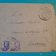 Sellos: SOBRE CON SELLO FRANCO 20 CENTS MATASELLO ALBACETE AÑO 1940. Lote 40576364