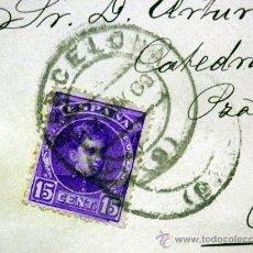 Sellos: SOBRE CIRCULADO, CON SELLO, DE 15 CÉNTIMOS, BARCELONA - REUS, 1909. Lote 40658688
