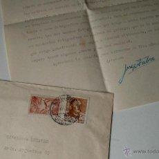 Sellos: CARTA A MAQUINA ESCRITA Y FIRMADA POR EL PINTOR, JORGE FARRÉ BERTRAND, 1950 . Lote 41220008