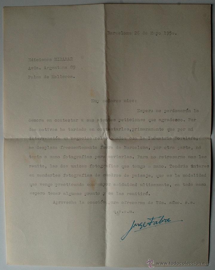 Sellos: CARTA A MAQUINA ESCRITA Y FIRMADA POR EL PINTOR, JORGE FARRÉ BERTRAND, 1950 - Foto 2 - 41220008