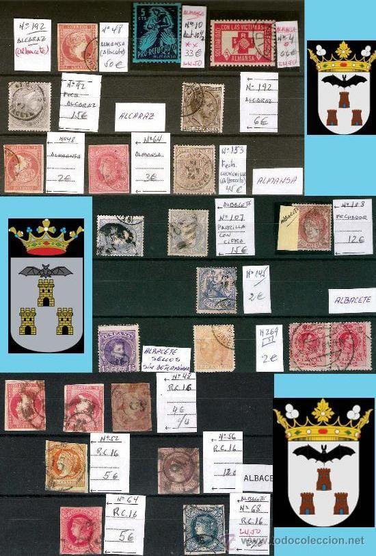 ALBACETE Y PROV.- HIST. POSTAL, MATASELLOS Y E. LOCALES-PATRIOTICAS. P.V.1.213 € VER 3 PLANCHAS. (Sellos - Historia Postal - Sello Español - Sobres Circulados)