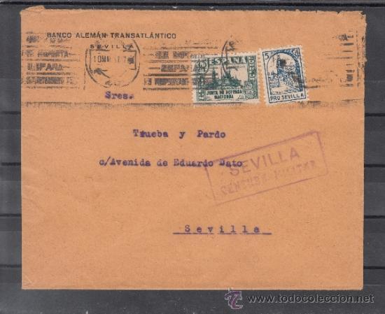 .608R SOBRE SEVILLA (INTERIOR), FRANQUEO 806 Y LOCAL 675 MATº, CENSURA S 86-11A EN VIOLETA (INSUFIC+ (Sellos - Historia Postal - Sello Español - Sobres Circulados)